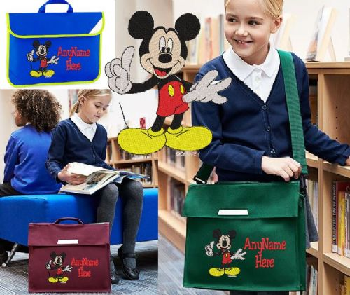 Mickey Mouse design Book bag - available in choice of sizes, colour and spec.  Personalised